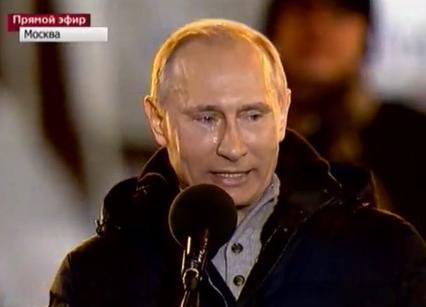 В.В. Путин выступает перед людьми на Манежной площади. Выборы Президента РФ. 4 марта 2012 года, Москва