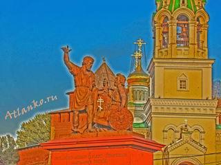 Памятник Минину и Пожарскому в Нижнем Новгороде. Обои на рабочий стол компьютера от Atlanko.ru - актуальные открытия. Скачать